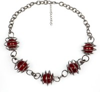 Johareez 71.50 Grams Red Glass Spring Look Brass Necklace Silver Plated Brass Necklace