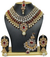 Jacknjewel Sparkling Bridal Necklace Set Ruby Rhodium Plated Alloy Necklace Set