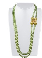 Karmic Kabira By Vandana Dewan Green Pearl With Gold Bead Brass Necklace