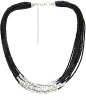 Galz4ever Black & Silver Seed Bead Alloy Necklace
