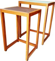 Bhavna Solid Wood Nesting Table (Finish Color - Natural Teak Wood Finish, Set Of - 2)
