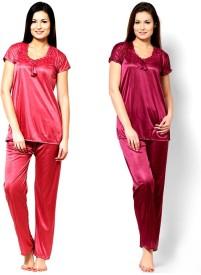 Rakshita collection Women's Nighty with Robe, Top and Capri