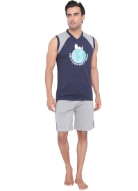 Valentine Men's Solid Dark Blue Top & Shorts Set