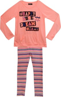 Bella Moda Girl's Solid Top & Pyjama Set