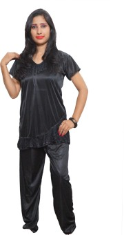 Indiatrendzs Women's Solid Top & Pyjama Set