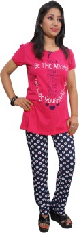 Indiatrendzs Women's Printed Pink, Blue Top & Pyjama Set