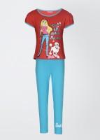 Barbie Girl's Printed Top and Pant Set