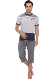 Valentine Men's Striped Grey T-shirt & Three-forth Set