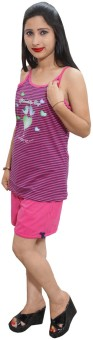 Indiatrendzs Women's Striped Top & Shorts Set