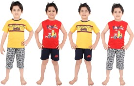 Punkster Boy's Graphic Print Yellow T-shirt & Three-forth Set