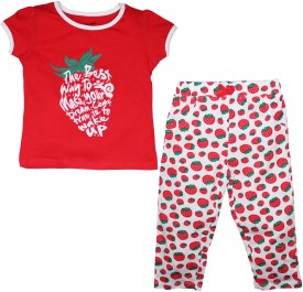 FS Mini Klub Sleepwear Girl's Printed Red Top & Pyjama Set