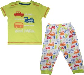FS Mini Klub Sleepwear Boy's Printed Green Top & Pyjama Set