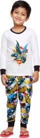 Nuteez Boy's Printed White Top & Pyjama Set