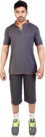 Obvio Men's Solid Brown T-shirt & Three-forth Set