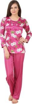 Fasense Women's Floral Print Pink, Multicolor Top & Pyjama Set