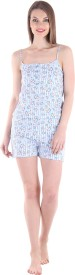 Private Lives Women's Printed Blue Top & Shorts Set