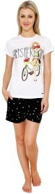 Private Lives White Women's Printed Top & Shorts Set