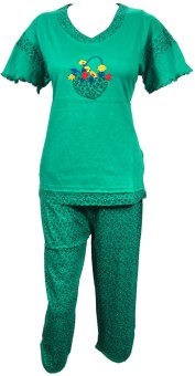 Indiatrendzs Women's Printed Top & Capri Set: Night Suit