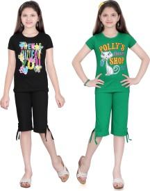 Sinimini Baby Girl's Printed Multicolor Top & Capri Set