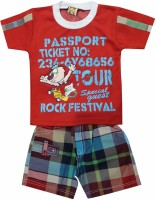 Mankoose Baby Boy's Printed Red, White, Yellow, Blue Top & Shorts Set