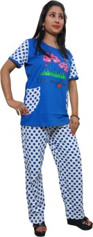 Indiatrendzs Women's Polka Print Top & Pyjama Set