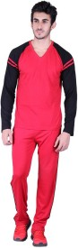 Vivid Bharti Men's Solid Red, Black Top & Pyjama Set