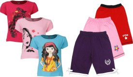 Gkidz Girl's Printed Top & Shorts Set