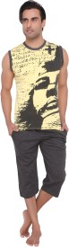 Valentine Men's Printed Yellow T-shirt & Three-forth Set
