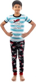 Lazy One Boy's Animal Print White Top & Pyjama Set