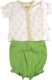 Bio Kid SHORT PYJAMA - WHITE AOP TOP & BUD GREEN Baby Girl's Printed Multicolor Top & Shorts Set
