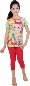Red Ring Girl's Graphic Print Multicolor, Pink Top & Capri Set