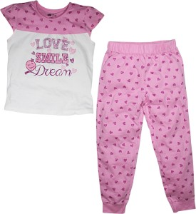 FS Mini Klub Sleepwear Girl's Printed Pink Top & Pyjama Set