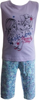 Instyle Girl's Self Design T-shirt & Three-forth Set