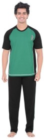 Inter Creation Men's Solid Green Top & Pyjama Set
