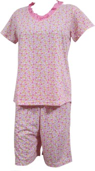 Indiatrendzs Night suit Women's Floral Print Top & Capri Set: Night Suit