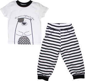 FS Mini Klub Sleepwear Boy's Printed White Top & Pyjama Set