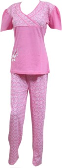 Indiatrendzs Night Suit Women's Solid Top & Pyjama Set: Night Suit