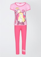 Barbie Girl's Printed Top and Bottom