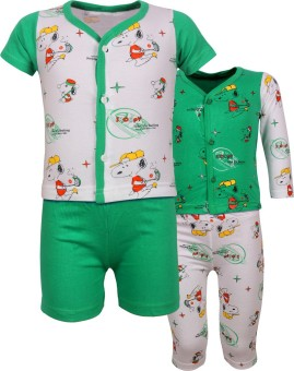 Jazzup Beautifull Night Wear Baby Boy's Printed Green, White Top, Pyjama & Shorts Set