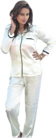 Miss-Me Women's Solid White Top & Pyjama Set