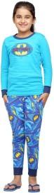 Nuteez Girl's Printed Blue Top & Pyjama Set