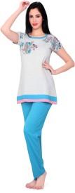 Skinwrap Women's Printed Blue Top & Pyjama Set
