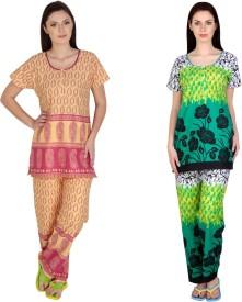 Simrit Women's Printed Pink, Green Top & Pyjama Set