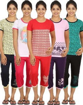 Meril Girl's Printed Green, White, Pink, Red, Yellow T-shirt & Three-forth Set