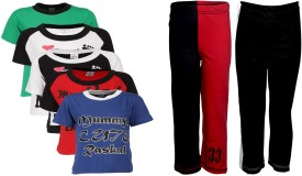 Gkidz Boy's Printed Multicolor T-shirt & Three-forth Set - NSTEGBXYUWY9GUG5