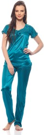 Sukuma Women's Solid Top & Pyjama Set