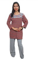 Indiatrendzs Women's Striped Top & Pyjama Set