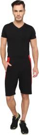 LUCfashion Men's Self Design Red, Black Top & Shorts Set