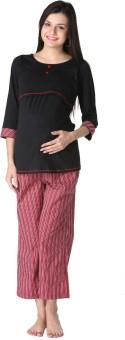 Morph Maternity Night Suit Women's Solid Black Top & Pyjama Set
