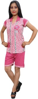 Indiatrendzs Night Suit Women's Printed Top & Shorts Set